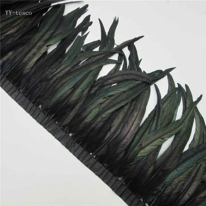 10 yards black Rooster Feathers Trim 35 40cm Chicken Feather Ribbon For Wedding Party Decoration DIY
