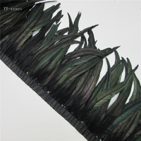 10 yards black Rooster Feathers Trim 35 40cm Chicken Feather Ribbon For Wedding Party Decoration DIY Clothes Accessories