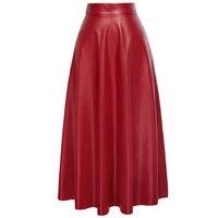 Kate Kasin Sexy High Waist Synthetic Leather Womens Skirts Autumn Winter 2018 Women Long Skirt