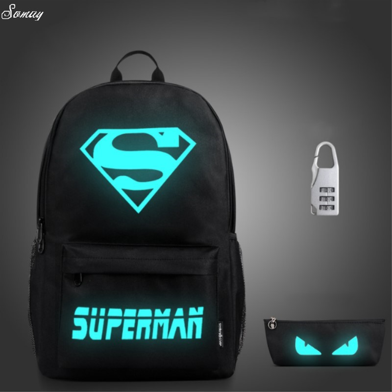 Superman Luminous Printing Backpack Glow Canvas Backpack Backpack Star School Teenagers Mochila