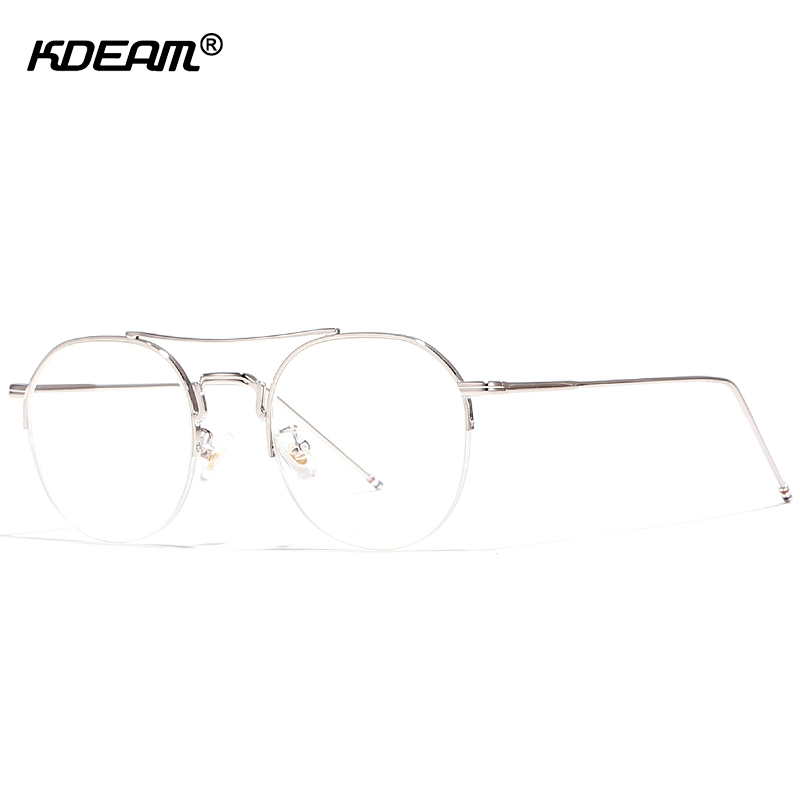 61ee9c79d12 KDEAM Half Frame Round Glasses Frame With UV400 Lens Eye catching Top Bar  Optical Eyeglasses With Brand Box KD903-in Eyewear Frames from Apparel  Accessories ...