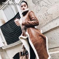 TWOTWINSTYLE Irregular Fleece Coats Pu Leather Turtleneck Zipper Midi Long Coat Winter Thick Female Large Size Tide Clothing