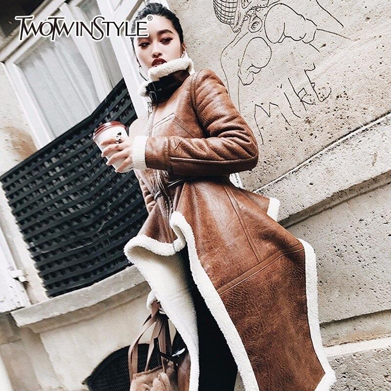 Twotwinstyle нерегулярные флис Пальто для будущих мам из искусственной кожи Высокий воротник на молнии миди длинное пальто зимой толстые женские...