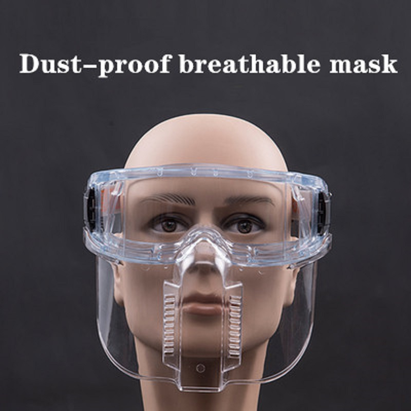 Full-face Safety Mask PC Lens Detachable Welding Polishing Dust-proof Transparent Protect Mask Splash-proof Chemical Kitchen