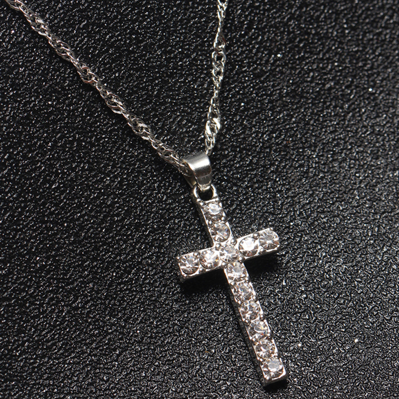 Collier Femme New Fashion Silver Color Cross Necklaces & Pendants Collares for Women men Mujer Accessories Jewelry x307