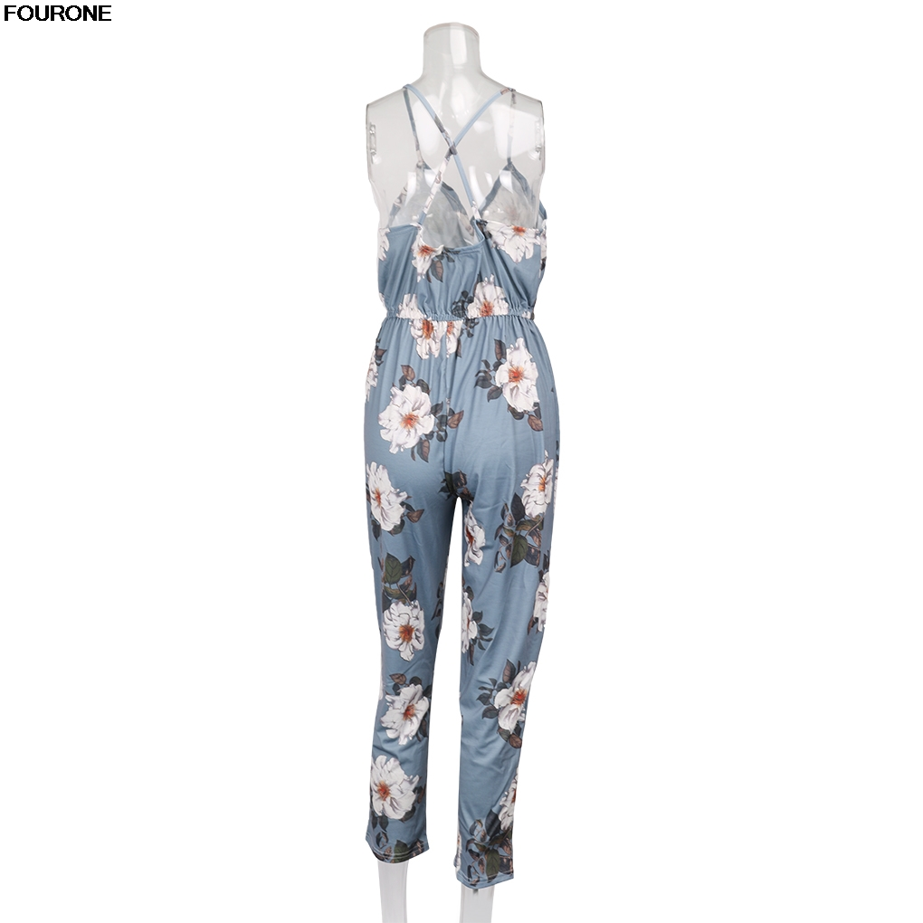 Flower Print Long Rompers Womens Jumpsuit Sexy V Neck Straight Overalls Sashes Playsuit
