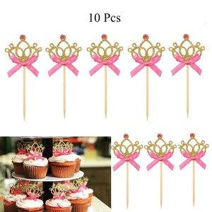 Image 4 - 10 adet altın taç kek Toppers prenses doğum günü partisi süslemeleri çocuklar erkek bebek kız bebek duş malzemeleri