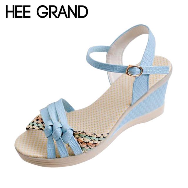 HEE grande Verão Mulheres Cunhas Sandálias Senhoras Casuais Doces Plataforma Gladiador Sandálias de Dedo Aberto Apartamentos Sapatos Mulher XWZ1319