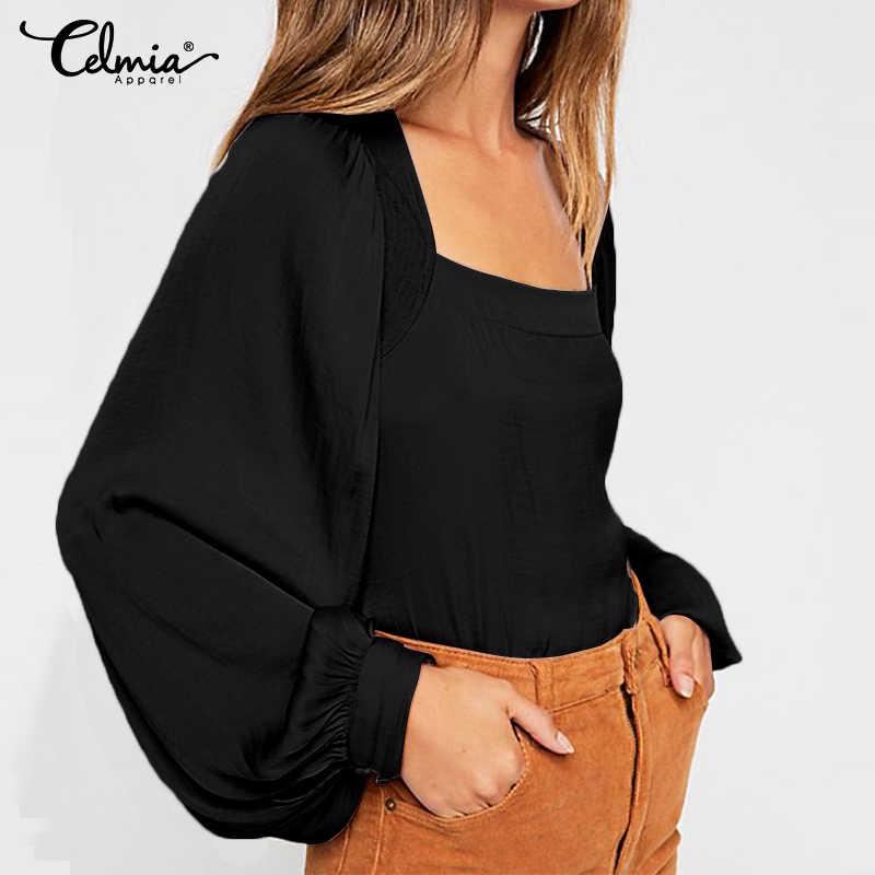 5XL cellia плюс размер женские повседневные Однотонные блузки 2019 осенние рубашки квадратный воротник с длинным рукавом Женские топы Свободные работы Blusas Mujer