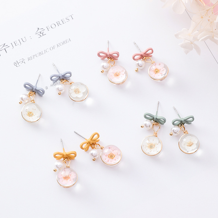 MENGJIQIAO 2018 New Women Accessories Glass Ball Flower Drop Pendientes For Women Simulated Pearl Cute Bowknot Boucle D'oreille