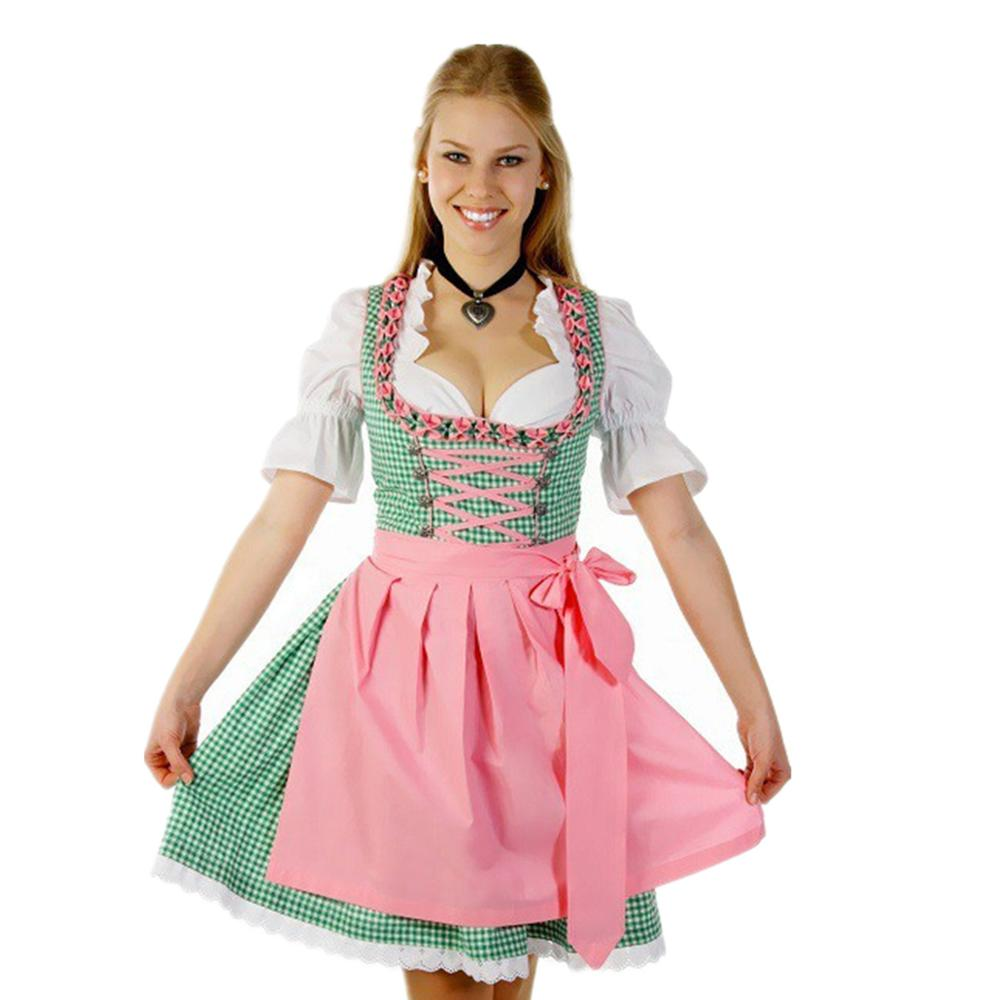 Green Plaid Adult Ladies Beer Outfit Bavarian Oktoberfest Dirndl Short Wench Fancy Dress