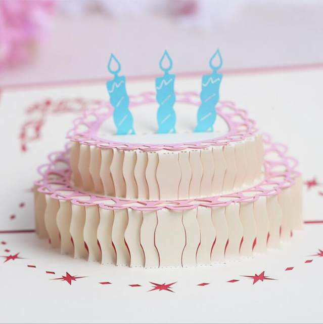 Online shop birthday greeting card handmade party invitation 3d birthday greeting card handmade party invitation 3d cake delicate carved pattern invitation card 3d paper craft stopboris Image collections