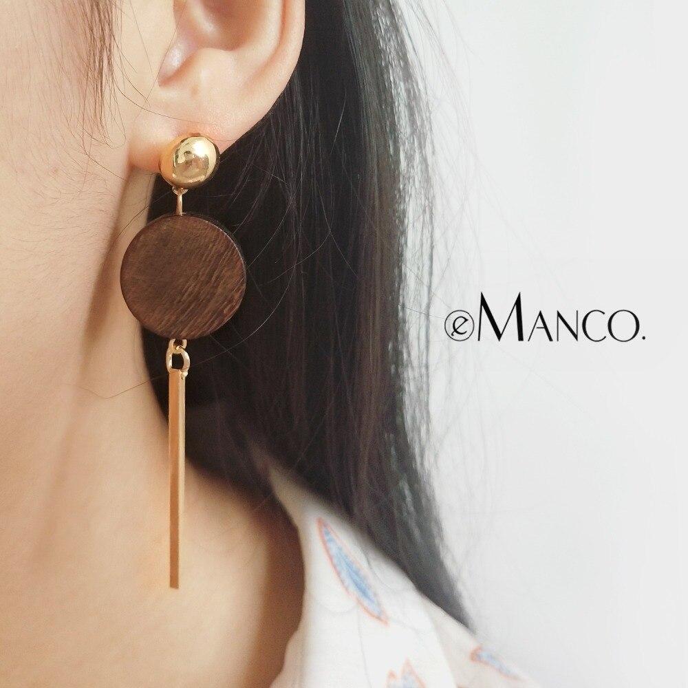 eManco Big Round Wooden Pendant Earrings Women Fashion Minimalist Metal Long Geometric Drop Earrings