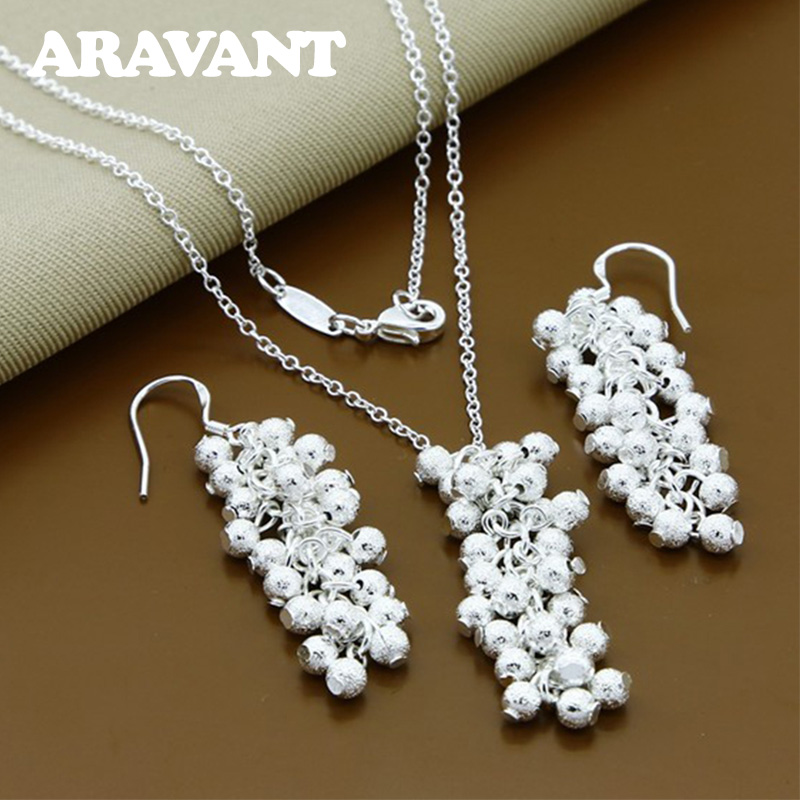 925 Silver Grapes Beads Pendants Necklace Earrings Women Jewelry Sets