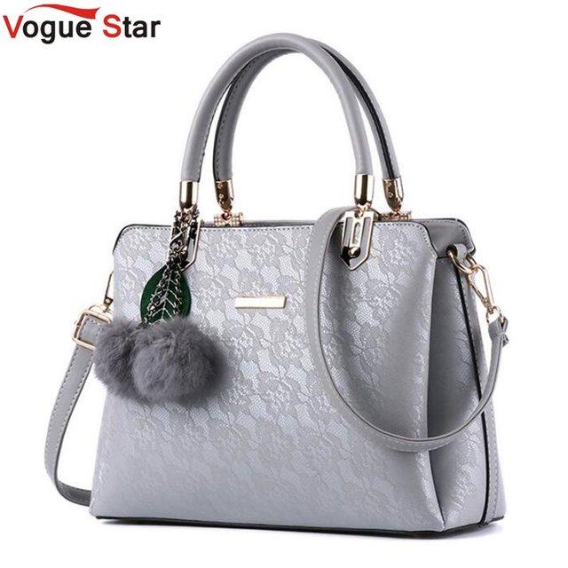 56ed21f5edf0 Lace Flower Printing Pu Leather Women Handbags Shoulder Bag For Female  Messenger Bags Floral Tote Bag Bolsas With Fur Ball LB41