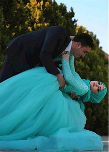 Image 5 - Prachtige Tule Natuurlijke Waisline Baljurk Arabische Islamitische Trouwjurken met Strass Riem Moslim Bruids Jurk Blauw