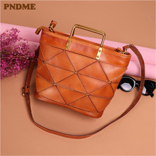 PNDME luxury vintage fashion genuine leather ladies handbags handmade high quality brown shoulder crossbody bags for women