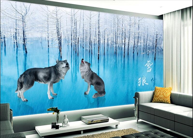 3d wallpaper custom photo non-woven mural wall sticker 3 d Hd snow Wolf  painting picture room wallpaper for walls 3d 3d murals wallpaper hd paris window photo custom non woven sticker room sofa tv background wall painting wallpaper for walls 3d