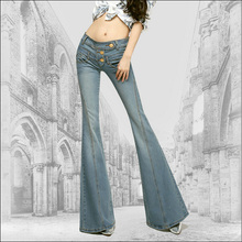 New Arrival Top Fashion Woman Mid Waist Gold Button Big Flared Jeans Female Slim Hip Plus Size Boot Cut Jeans Star Style Denim