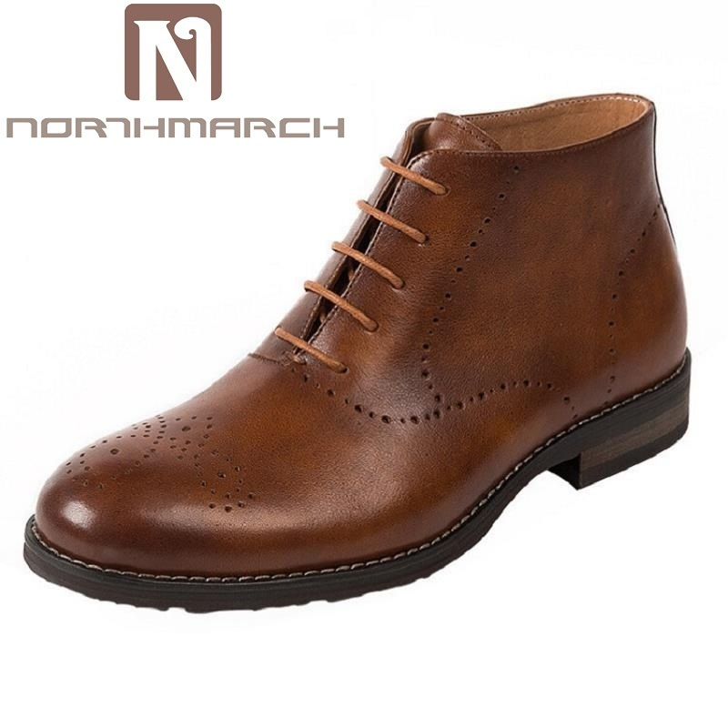 NORTHMARCH Brand Fashion Brogue Men Boots Lace Up High Quality Men Ankle Boots Brown Top Quality Men's Shoes Winter Botas Hombre z suo brand new winter women motocycle boots leather lace up ankle martin boots shoes black brown high quality