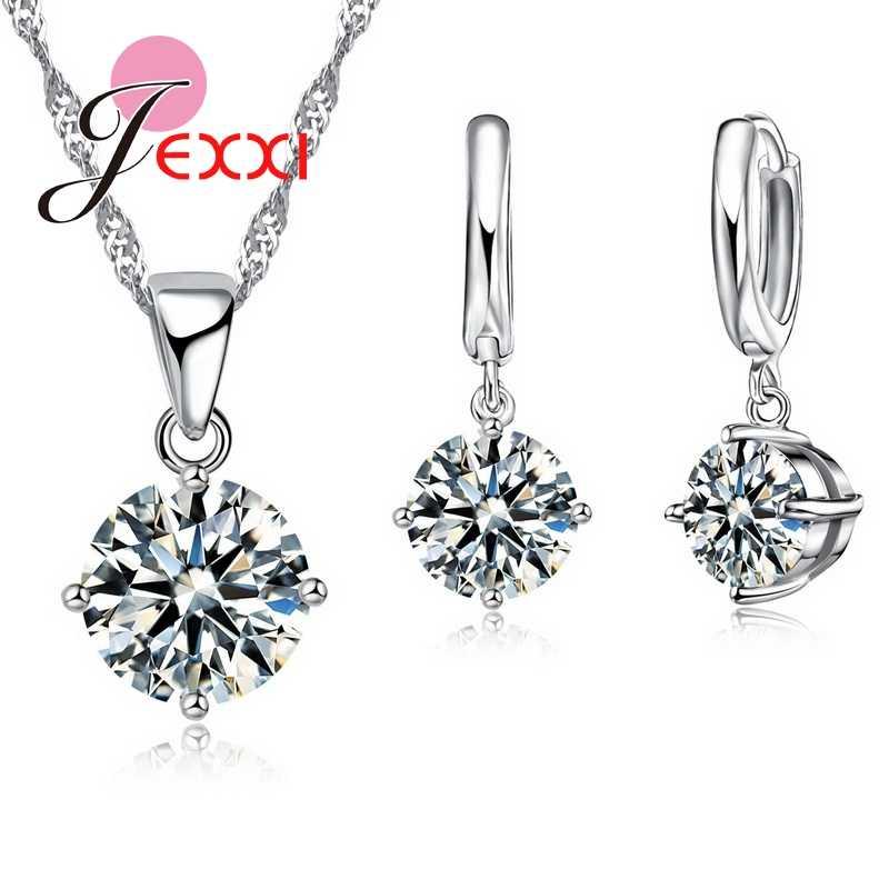 Großhandel 8 Farben Ziemlich 925 Sterling Silber Frauen Braut Schmuck Set Österreichischen Kristall Runde CZ Anhänger Halskette Ohrringe