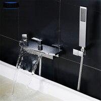 Латунный Роскошный водопад смеситель для ванной комнаты хромированный настенный смеситель для воды смеситель для душа набор с ручным душе