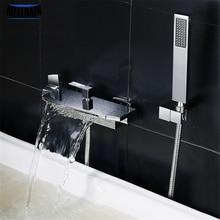 Латунь Роскошные ванна с водопадом хромированный кран настенный ванной воды для душа кран Набор с ручным душем