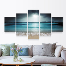 5 Panel Seascape Canvas Painting Sea Wave Beach Wall Art Cuadros Wall Picture For Living Room Modern Printing Unframed unframed sea wave and beach pattern canvas paintings
