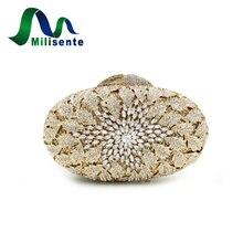 Neue Mode Frauen Große Diamant Blume Kristall Abendtaschen Partei Handtaschen Dame Hochzeit Geldbörse Mini Clutches Gold Kleine