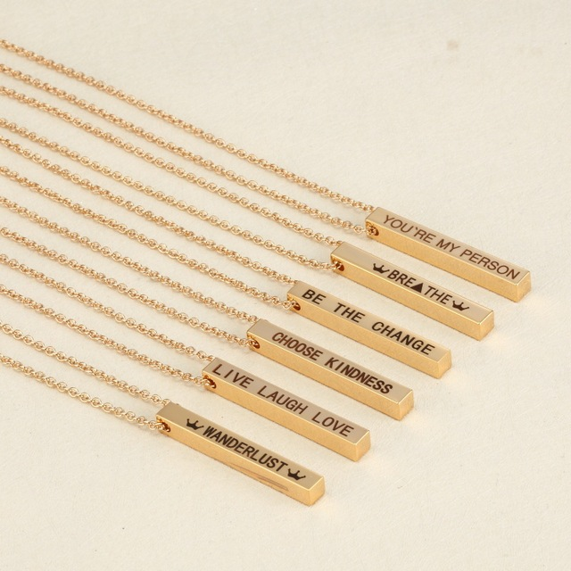 Gold Square Lettering LIVE LAUGH LOVE Necklace Hand Stamped Jewelry