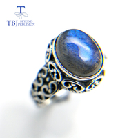TBJ,100% natural Labradorite gemstone oval 8*10mm classic design 925 sterling silver fine jewelry for women with jewelry box