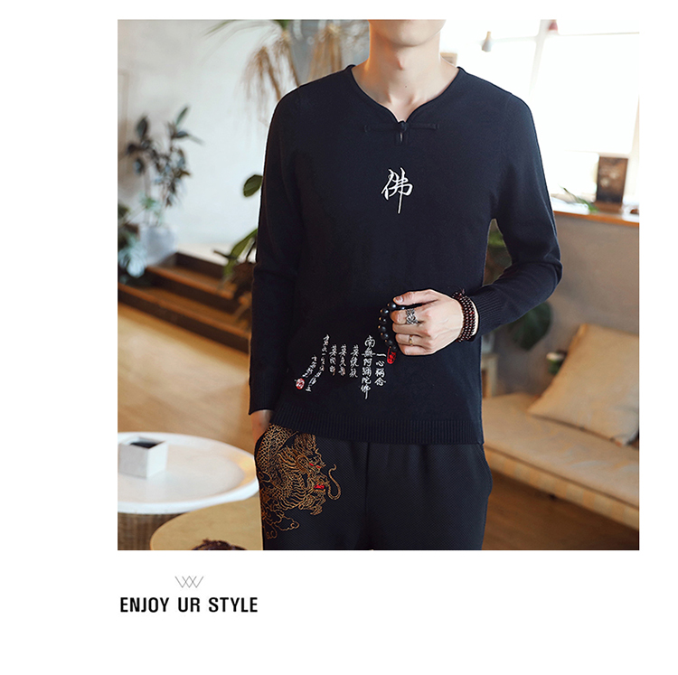 Chinese style Buddha embroidery Pull Homme Pullover Men spring autumn Casual sweater knit leisure Jersey Hombre Cotton v-neck 66