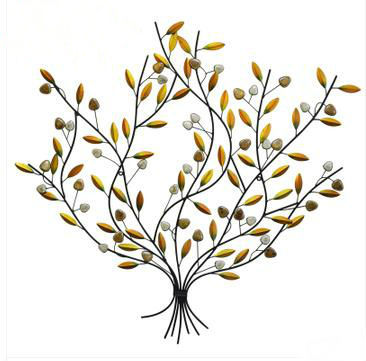 Modern Europen Metal Tree Branch Wall Decor Art Hand Made Ceramic Leaf 90 90cm Free