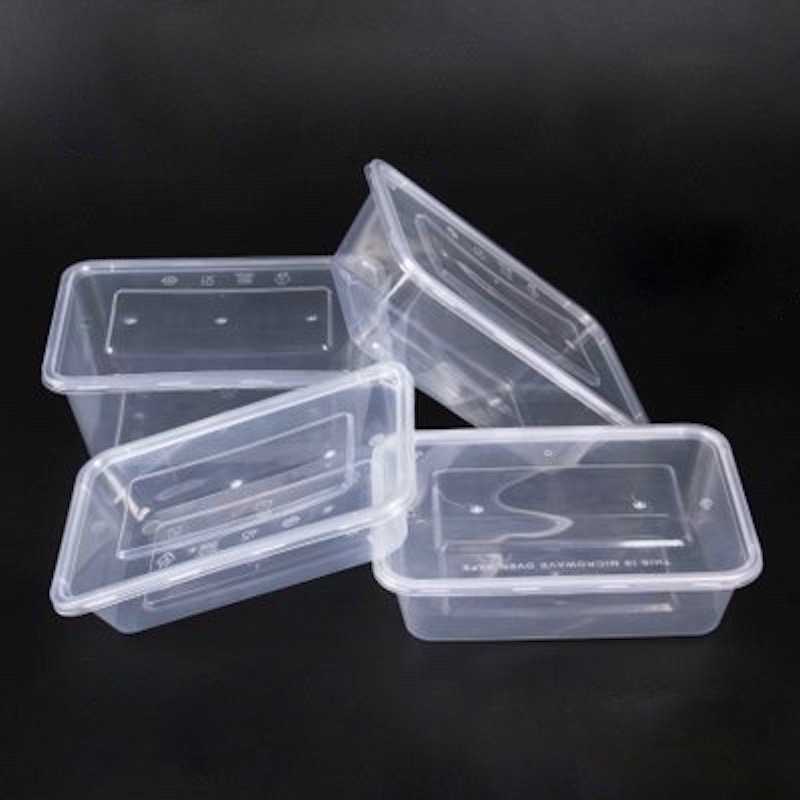 50pcs Smack-box Disposable Lunch Fast Food Snack Box Fastfood Container For Microwave Oven Transparent 500 / 650 / 750 / 1000ml