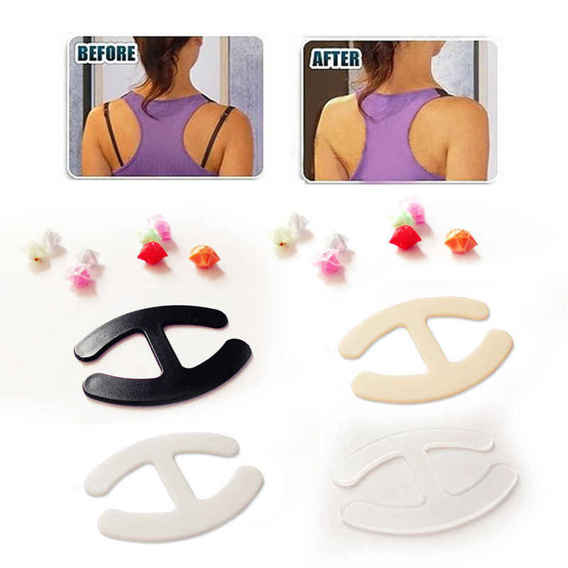3pcs Women's Push Up Cleavage Control Invisible Bra Strap Belt Clip Buckle Non-slip Buckle