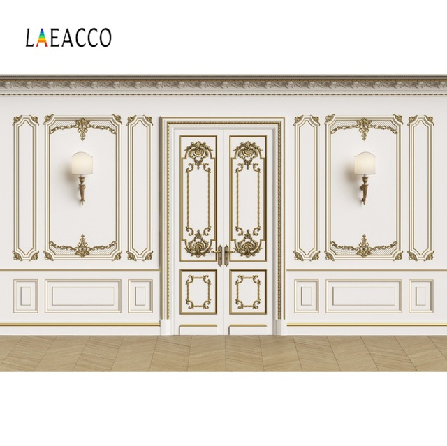 Laeacco Vintage Chic Wall Door Wedding Birthday Party Bulb Baby Room Interior Photo Background Photography Backdrop Photo Studio