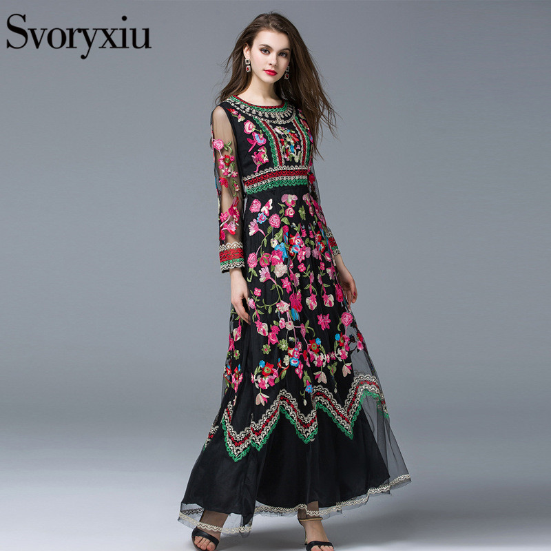 Svoryxiu New Fashion 2019 Runway Maxi Dress Women s Long Sleeve Stunning Voile Embroidery Long Dress