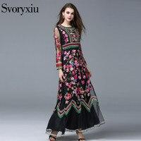 Svoryxiu New Fashion 2015 Runway Maxi Dress Women S Long Sleeve Stunning Voile Embroidery Long Dress