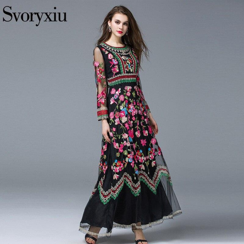 Svoryxiu nowe mody 2019 Runway sukienka w dużym rozmiarze damska z długim rękawem oszałamiająca woal hafty długa sukienka w Suknie od Odzież damska na  Grupa 1