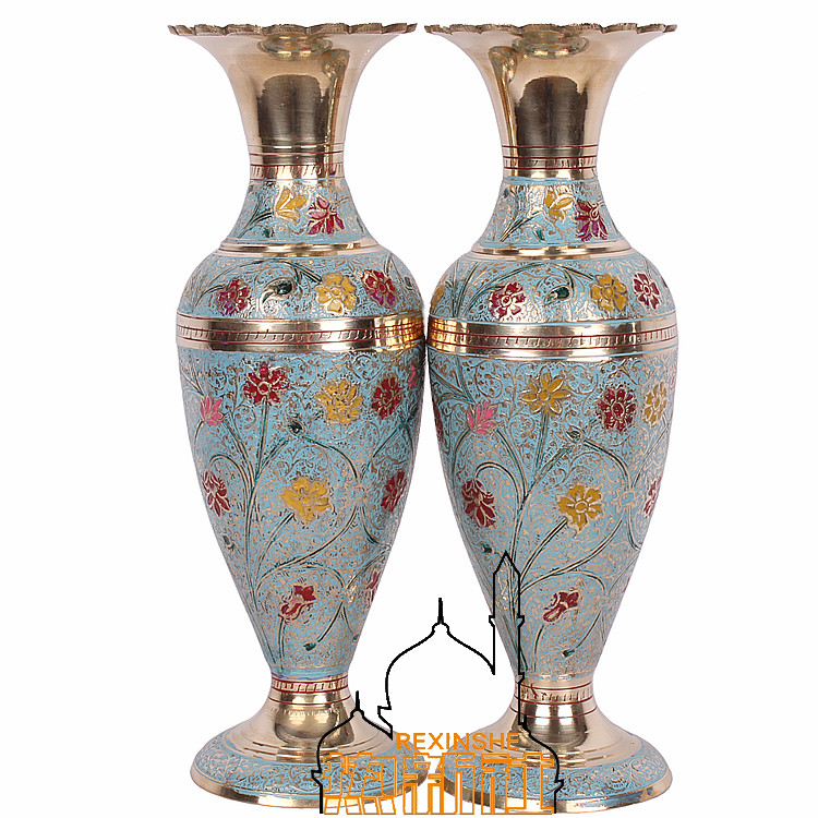 India Imported Bronze Hand Painted Carving Flower Vase