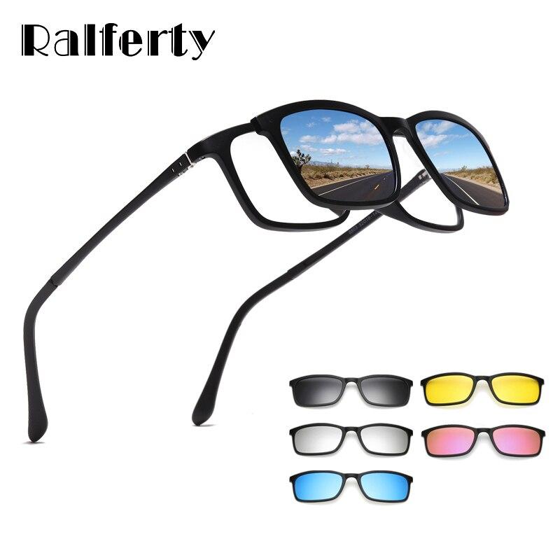 Ralferty Polarized Sunglasses Men Women 5 In 1 Magnetic Clip On Glasses TR90 Optical Prescription Eyewear Frames Eyeglass 8803