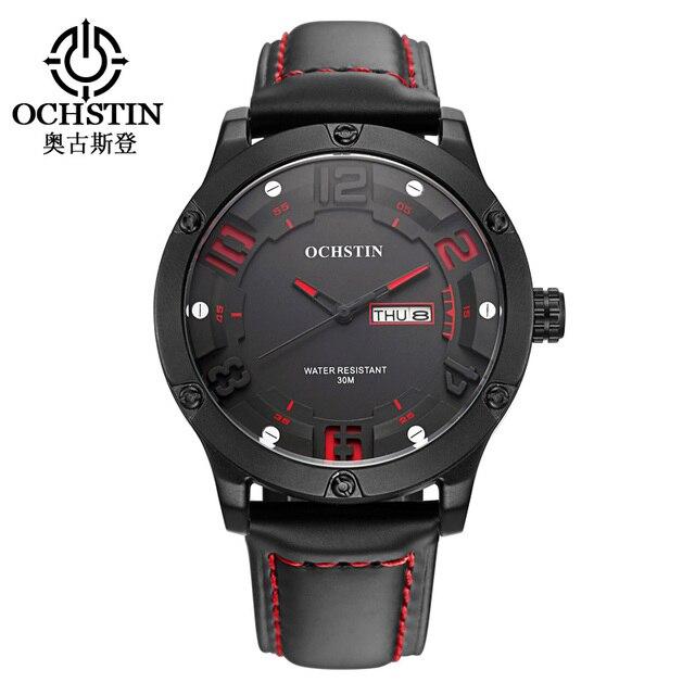 2017 Limited Ochstin Luxury Brand Men Watch Quartz Hour Date Clock Sport Watches Men's Leather Military Wrist Relogio Masculino