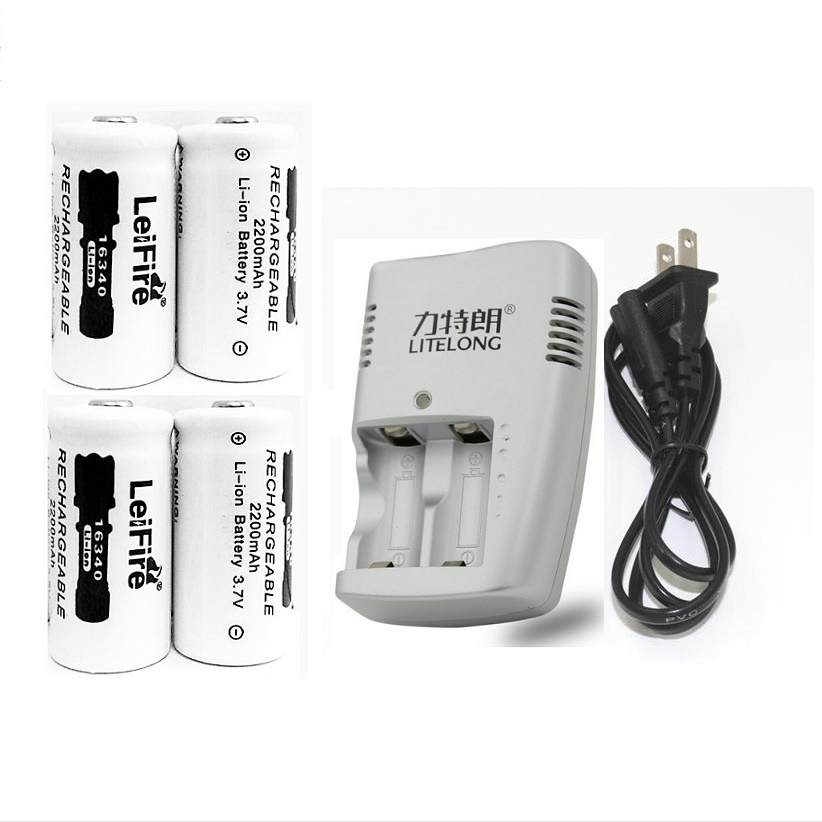 4pcs 3.7v 2200mAh CR123A rechargeable lithium battery+1pcs dedicated charger 16340 camera new 2 pcs 16340 cr123a 17335 1000 mah battery 3v cr123a battery charger digital camera made of special battery