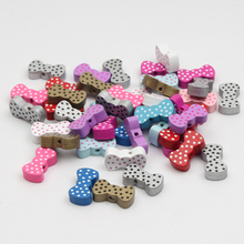 DIY 60pcs Colorful Wooden Beads Cute Bowknot Shape Have Spot Pattern Wood Beads21*11mm Spacer Wood Beads for jewelry Making