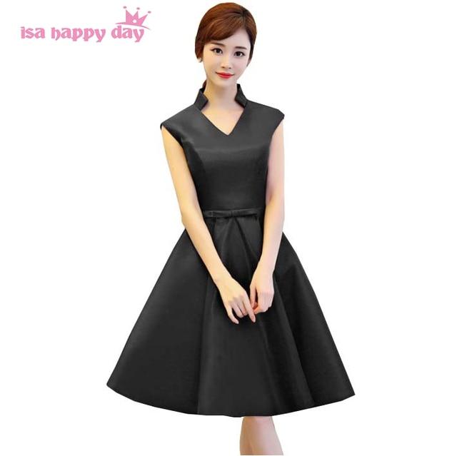 robe soiree girl short v neck black prom dress satin gowns 2018 new ...