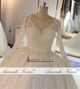 Image 3 - Stunning full beading shinny wedding dress long sleeves 2020 bridal dress real work amanda novias