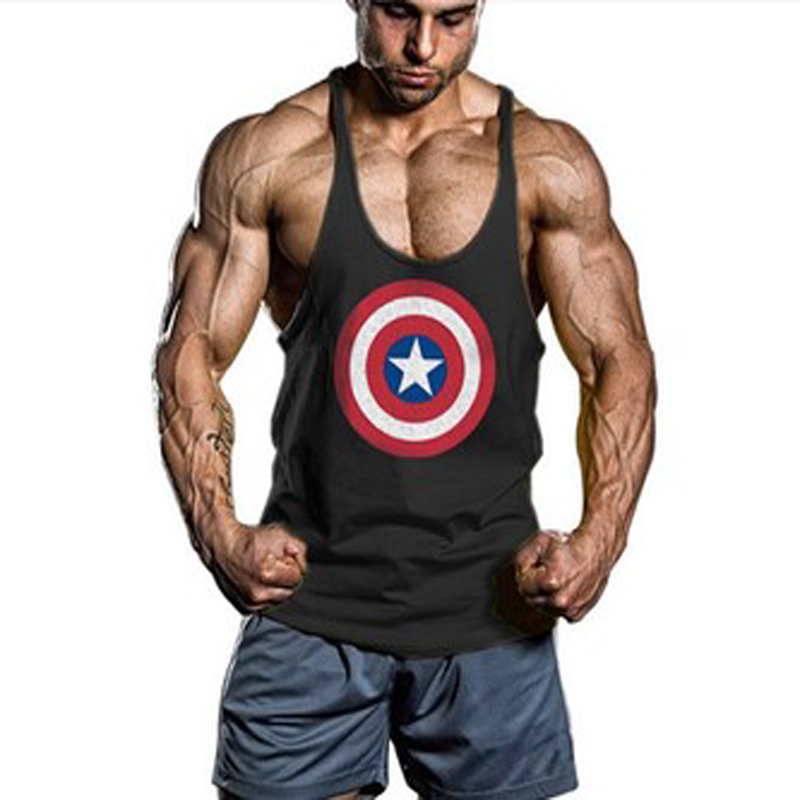 New Gym Muscle Bodybuilding Black Leather Fitness Lifting: Captain America Workout Tank Tops