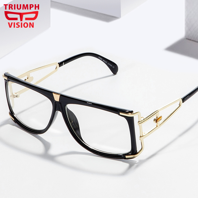 TRIUMPH VISION Male Decoration Clear Lens Glasses Frame Chic Design Square Spectacle Hollow Out Transparent Eyewear Flat Top