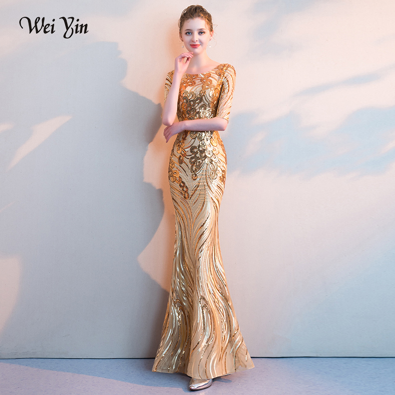 weiyin Women s Elegant Mermaid Gold Sequins Dress Short Sleeve Mermaid  Evening Dresses Party Long Prom Dress-in Evening Dresses from Weddings   Events  on ... f2a6a3fb58dc