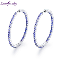LOVERJEWELRY New Arrival Solid 14K/585 White Gold Natural Tanzanite Wedding Earring Promised Fine Jewelry for Wife Gemstone Gift